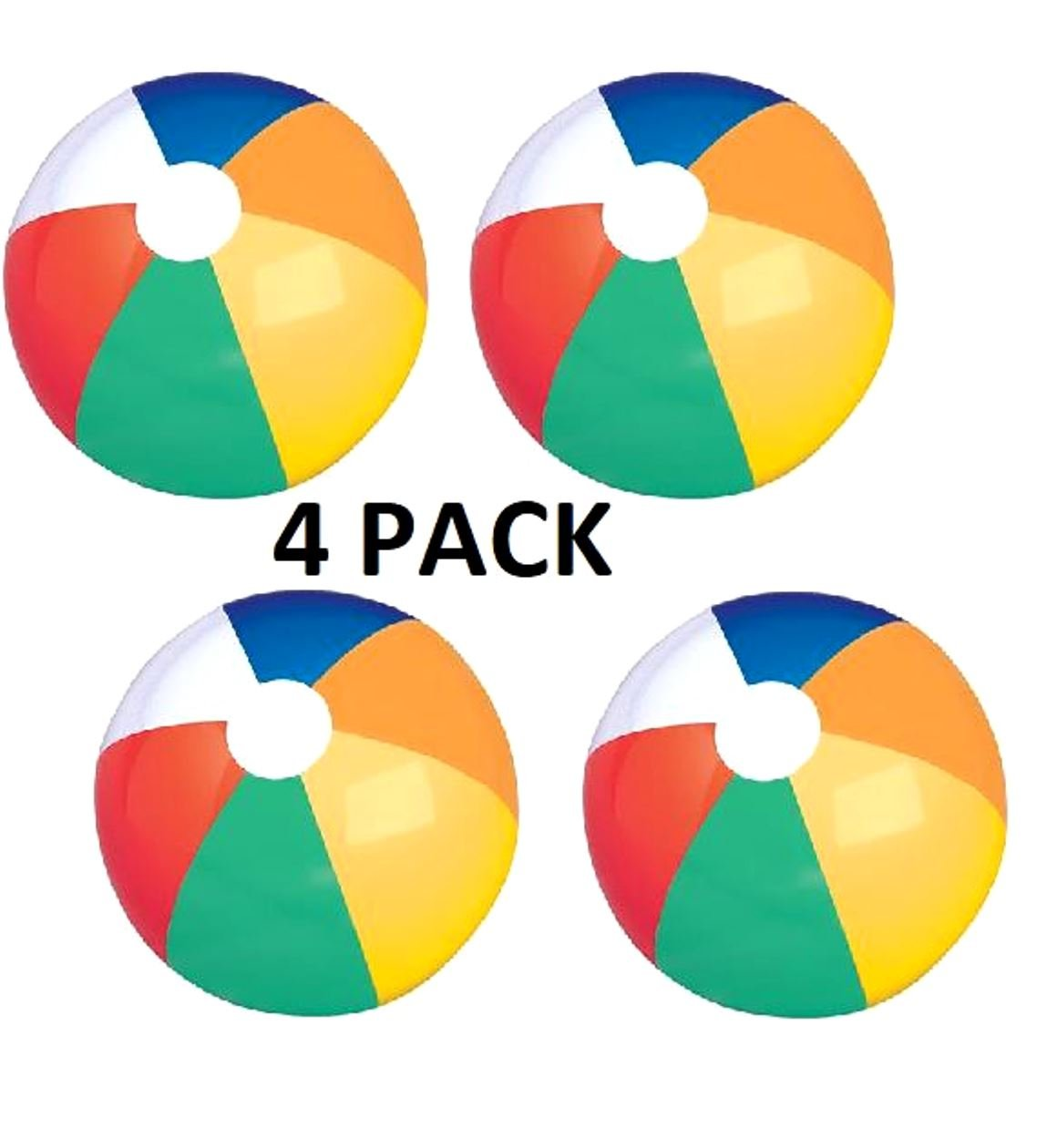 24'' Inflatable Beach Ball 4PACK-Ideal for Poolside,Lakes,Beach,BBQ,Camping,Park,Party-Can Be Inflated Via Mouth,Hand Pump, Pressure Pump, etc.Can Be Deflated After Use For Easy/Convenient Storage