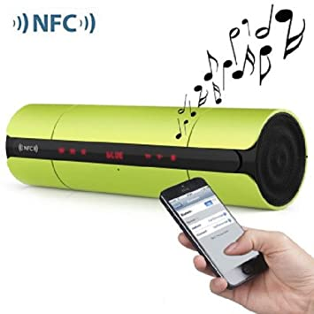 Verde Mini portátil LED mate pantalla NFC inalámbrico Bluetooth V3.0 estéreo altavoz para iPhone