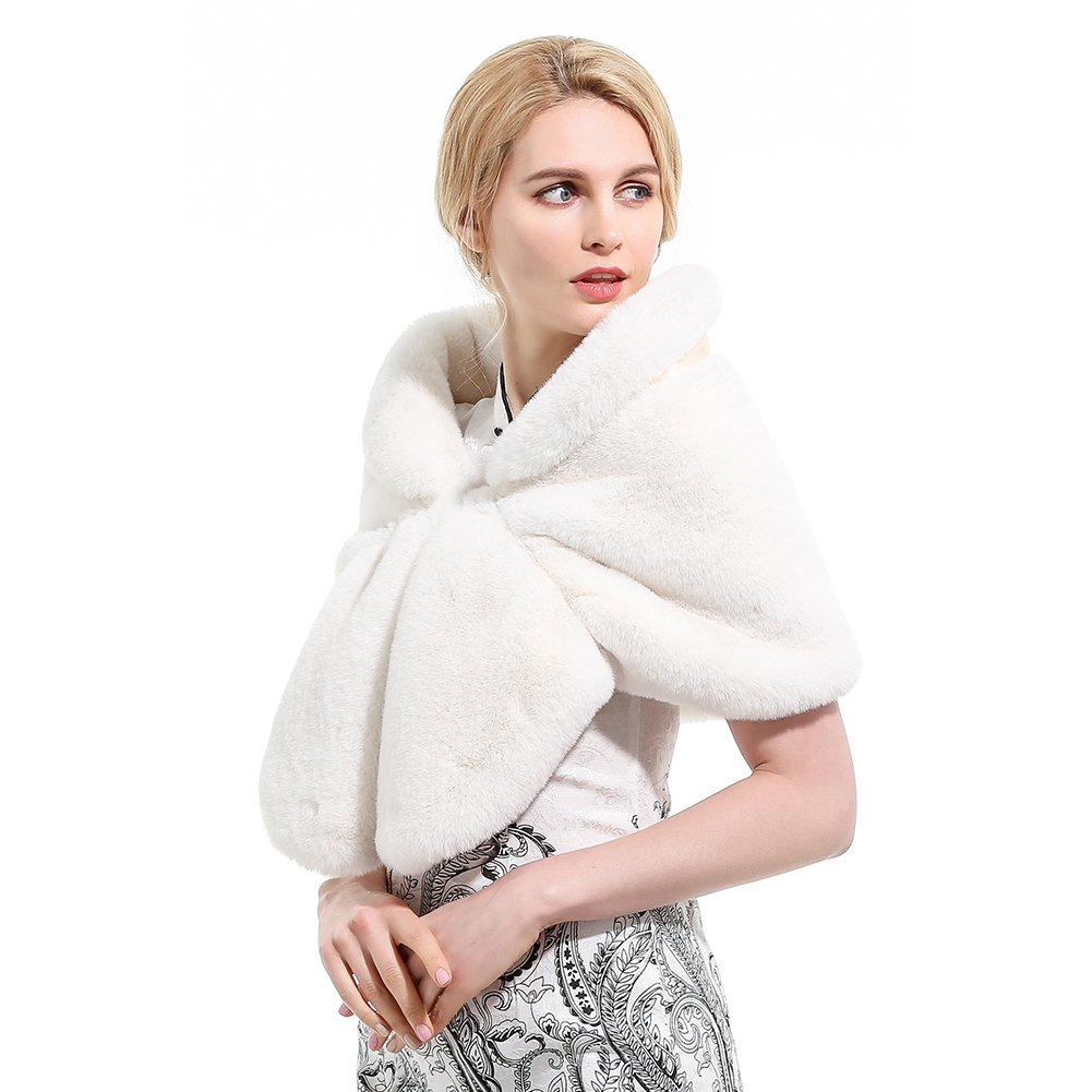 Roniky Large Warm Faux Fur Shawl Wrap Stole Shrug Winter Wedding Cover Up