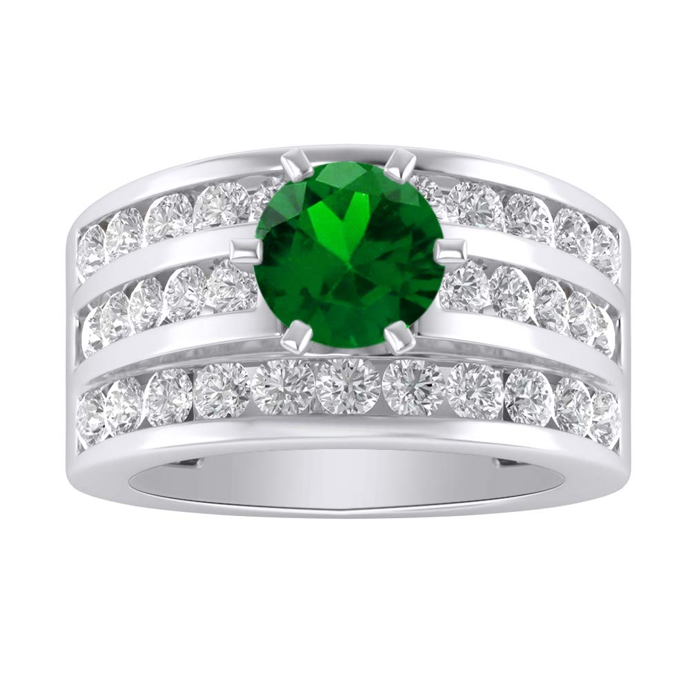 Shakti Jewels Round Cut Green Emerald /& White Cubic Zirconia Womens Engagement Ring in 14k White Gold Plated 925 Sterling Silver