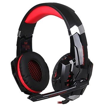 Voberry® LED Auriculares Gaming Auriculares de juego con micrófono estéreo Bass vista Regulador de volumen con micrófono para PC game teléfonos móviles, ...