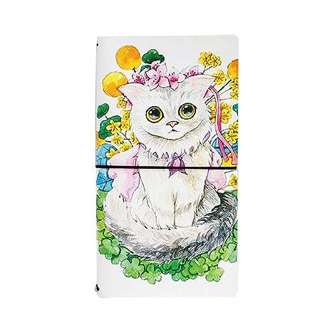 Skyeye Pequeño Libro Modelo de Gato Soleado Cuaderno de Estudiante, Notebook Libreta Mano Escrito Viaje