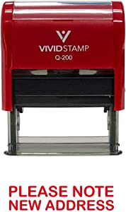 Please Note New Address Self Inking Rubber Stamp (Red Ink) - Medium