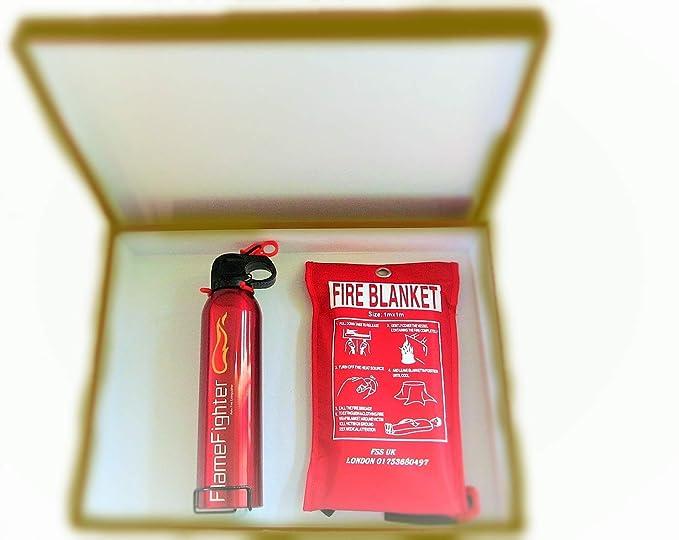 Caja de seguridad básica para tus seres queridos. Extintor, manta ignífuga. Ideal para casa, cocina, caravanas, oficinas y lugares de trabajo.