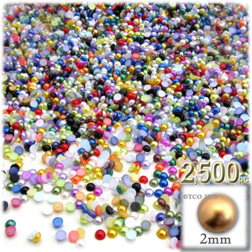 - The Crafts Outlet 2500-Piece Pearl Finish Half Dome Round Beads, 2mm, Multi Mix