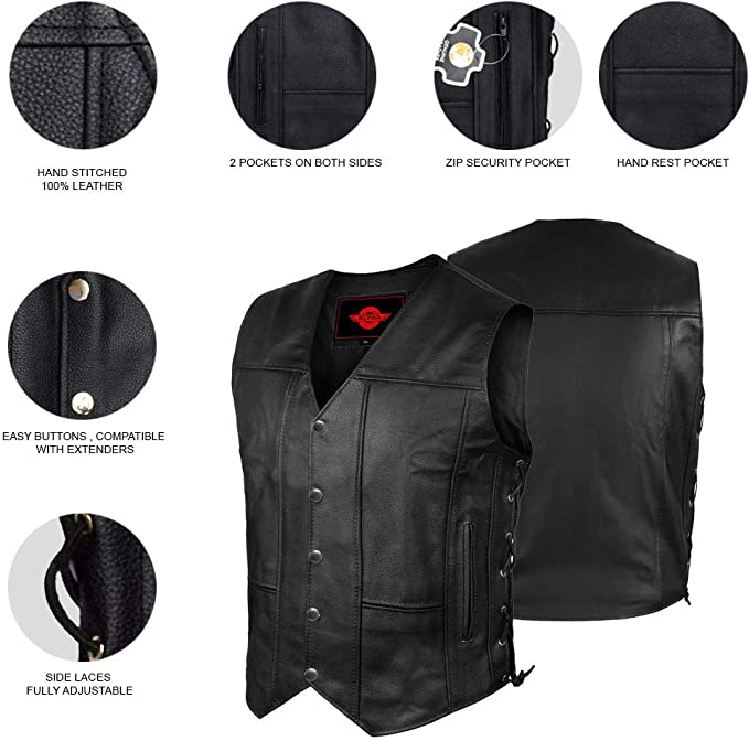 Motorcycle Leather vest for Men Snap and Zip Front Club Style Vest LV-55 XL