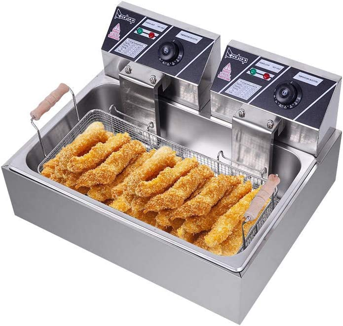 Deep Fryer with Basket 110V Oil Consumption with Oil Filtration & Drain System 12.7Qt/12L Oil Pan Total Capacity 23.26Qt/22L Stainless Steel Large Single-Cylinder Electric Fryer 5000W Max