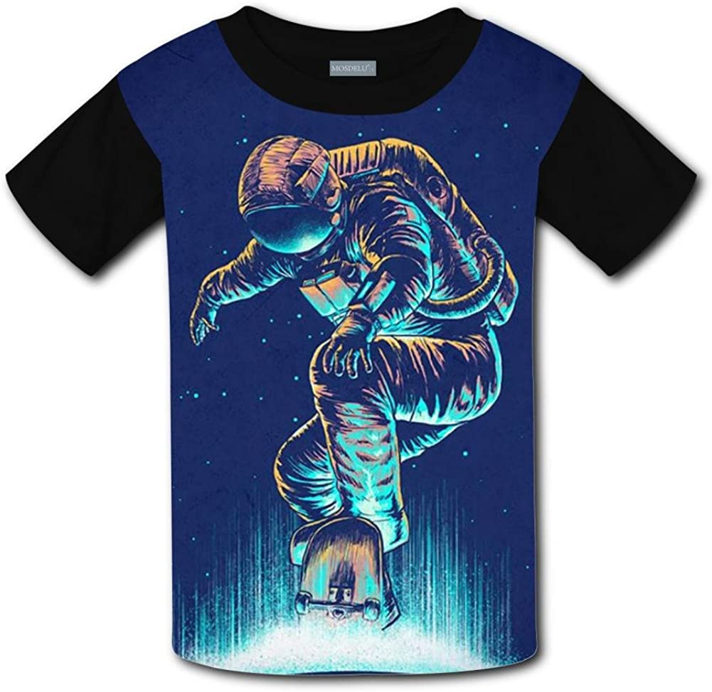 XiuHongShangMAo Unisex Kids Outer Space Astronauts Round Collar Short Sleeve T Shirt