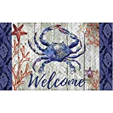 Evergreen Garden 41EM2314 Welcome Crab Embossed Floor Mat Door, Multicolor