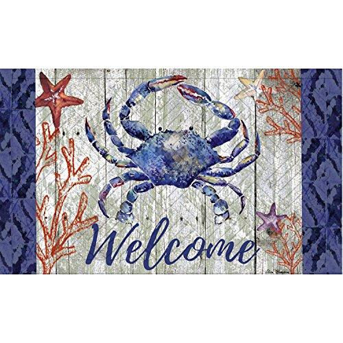 Evergreen Garden 41EM2314 Welcome Crab Embossed Floor Mat Door, Multicolor by Evergreen Garden