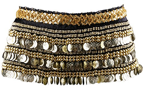 Yeeco Belly Dance Belt Hip Scarf Wrap Chain Widening Waistband Waist Performance Dancing Skirt Costume 338 Gold Coins (Black)