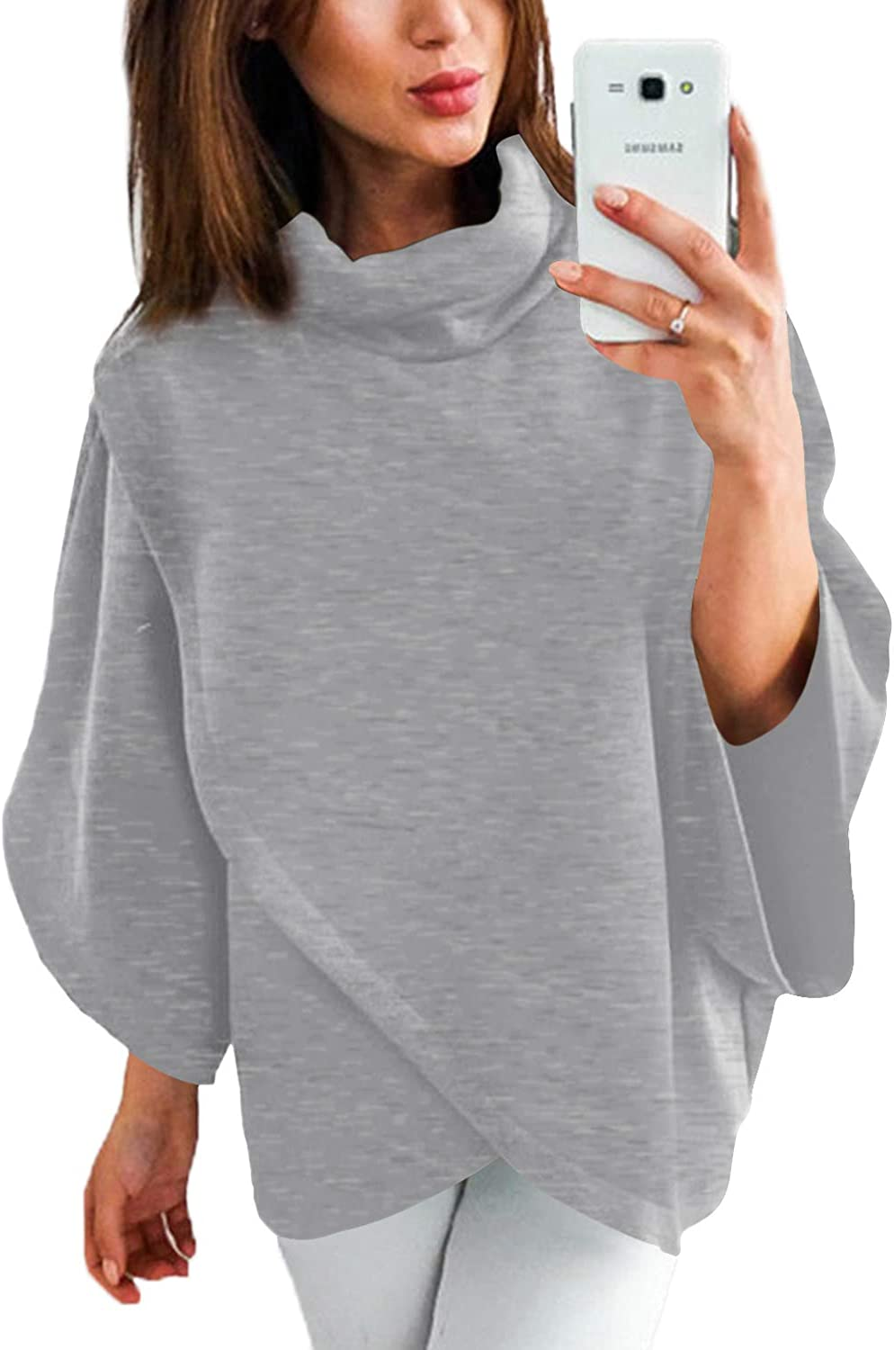 YOINS Outwear Capes Turtleneck Poncho for Women Chimney Collar Flared 3/4 Sleeves Irregular Hem Pullover Sweaters Grey Large