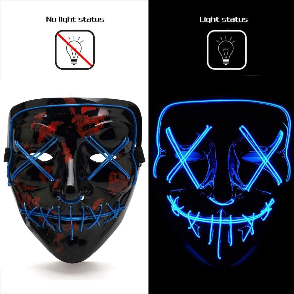 AnseeDirect Mascaras Carnaval Mascara Led Mask Halloween Cosplay Led Power Mask Disfraz Máscara Terror El Wire Light Up Power Purge Mask para Fiestas Festival Fiesta De Disfraces Navidad