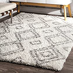 "nuLOOM Soft and Plush Iola Moroccan Shag Rug, 7' 10"" x 10', White"