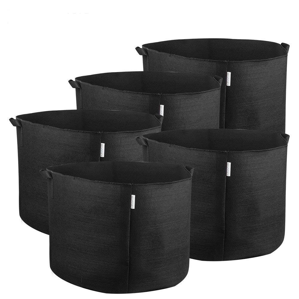 MELONFARM 5-Pack 20 Gallon Grow Bag Smart Thickened Non-Woven Aeration Fabric Pots Plant Containers with Handles Reinforced Weight Capacity Extremely Durable