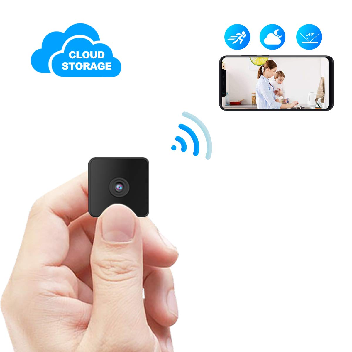 Kaisio Mini Spy Camera WiFi with Night Vision,Wireless Portable Hidden Nanny Camera with Motion Detection for Home/Office Wireless Security IP Camera Support Cloud Storage(2019 New Version) by Kaisio