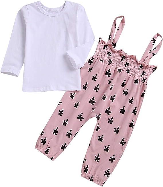 2pcs niñas bebés de Manga Larga Camisa Blanca + Pantalones de Liga Rosa Trajes de otoño: Amazon.es: Ropa y accesorios