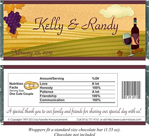 Welcome Winery - Winery or Vineyard Wedding Candy Bar Wrappers for a Chocolate Bar, Party Favors (set of 12)(W613/K02)