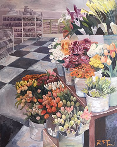 Large Oil on Canvas of a Flowers for Sale