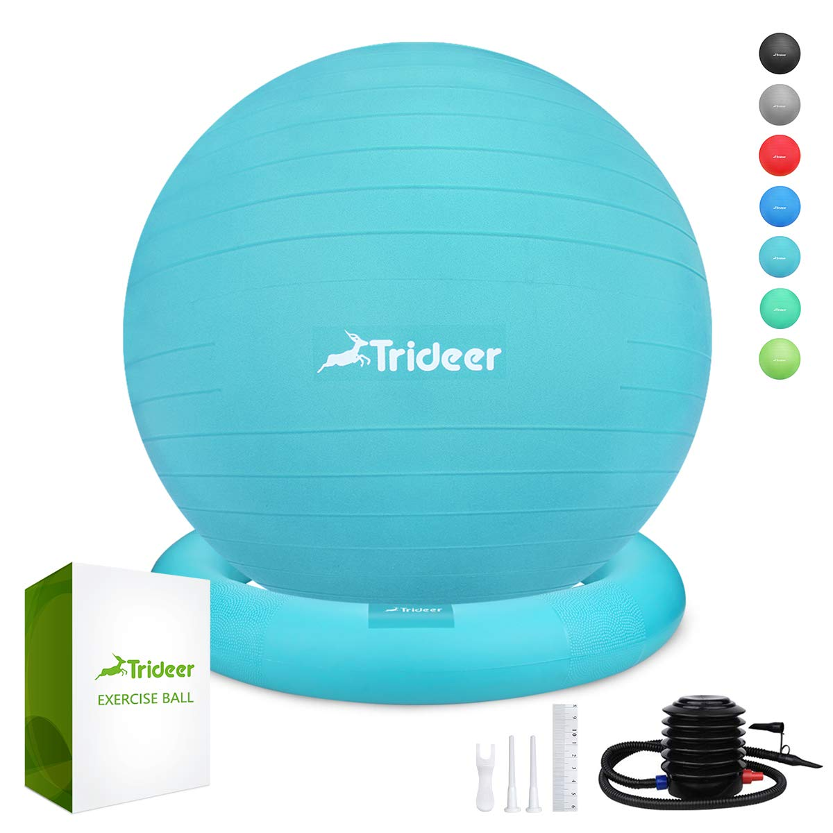 Trideer Ball Chair, Exercise Stability Yoga Ball with Base for Home and Office Desk, Ball Seat, Flexible Seating with Ring & Pump, Improves Balance, Back Pain, Core Strength & Posture(Ball with Ring
