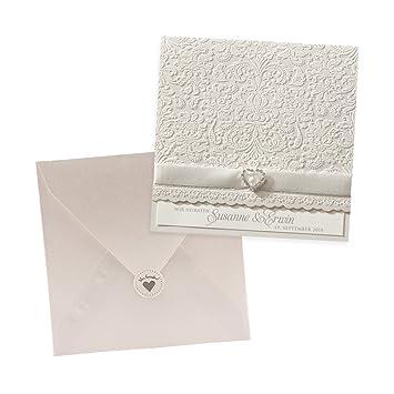 Weddix Klassische Einladungskarten Mandy Für Die Hochzeit, 3 Stück, Weiß  Mit Blüten Und Herz