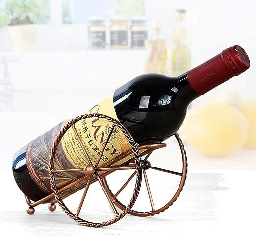 Compra Leluckly1 Estuche de Cocina Multifuncional Estante de Vino de Metal Forjado Creativo Europeo for Botella de Vino Individual Decoración del hogar Artesanías Interiores en Amazon.es