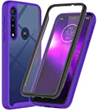 ONOLA Designed for Moto G8 Play Case, Moto One Macro Case (2019),Three Defense Built-in Screen Protector Crystal Clear Full Body Shockproof Slim Fit Cover for Motorola Moto G8 Play Phone (Purple)