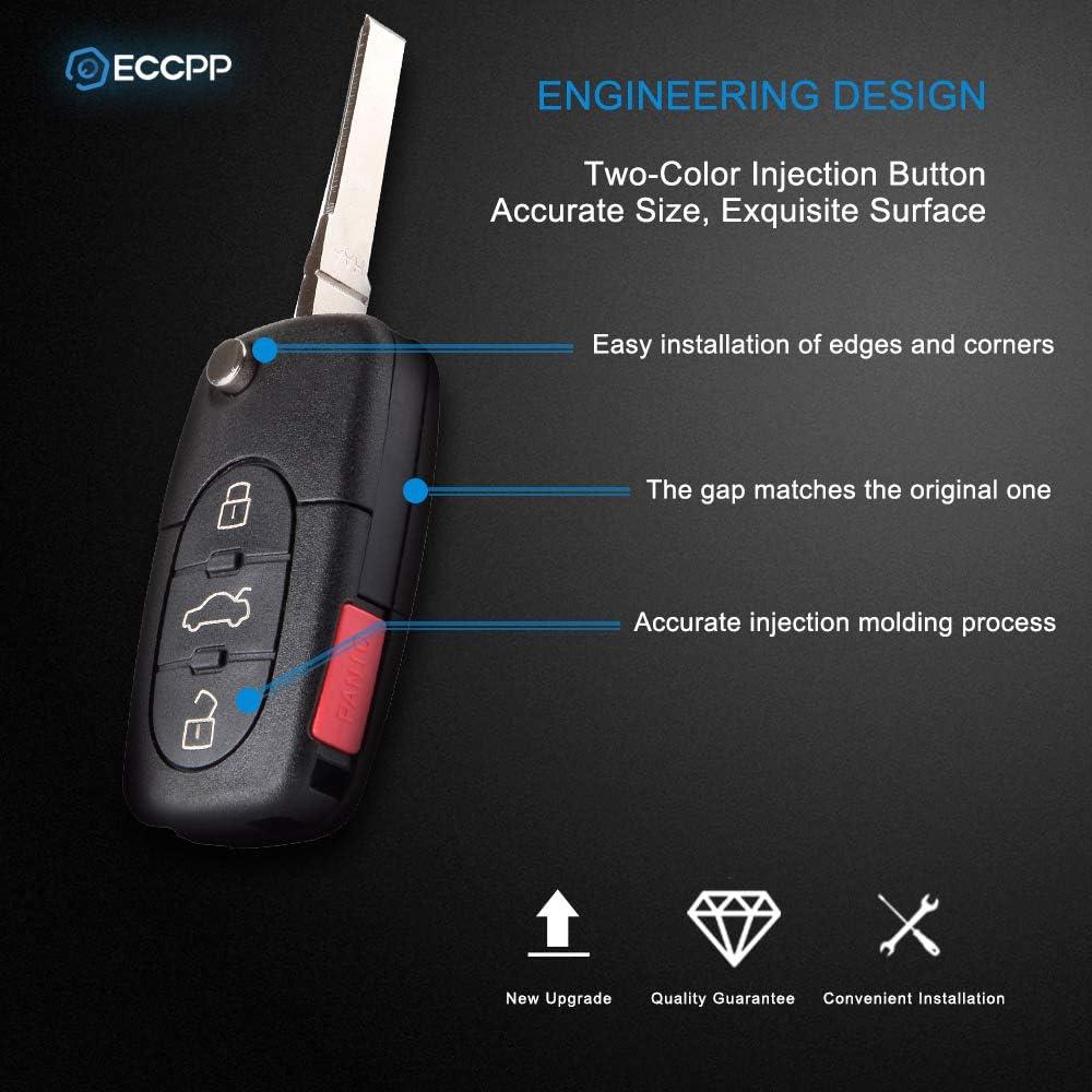 ECCPP 2X Keyless Remote Shell CASE Uncut Keyless Replacement fit for 97 98 99 00 01 02 03 04 05 Audi A4 Quattro A6 A8 Quattro All Road Quattro 4D0837231E 4D0837231P