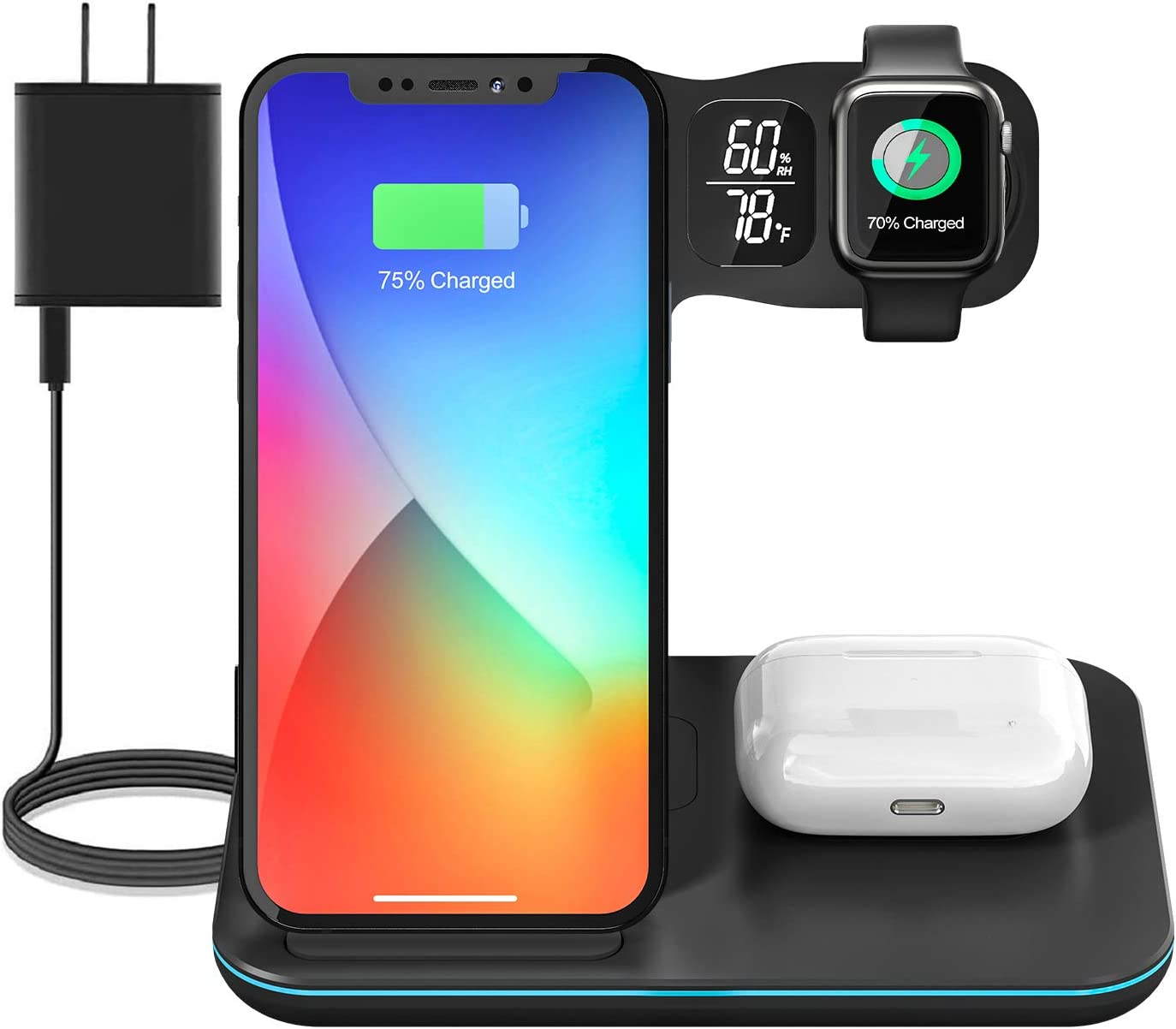 Wireless Charging Station, 5 in 1 Wireless Charger 15W Fast Charging Stand, Qi-Certified Dock with Temperature Humidity Display for iPhone 12/12 Pro Max/11 Pro,AirPods,Apple iWatch (Black)