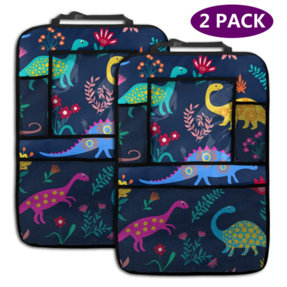 2 Pack Car Backseat Organizer Dinosaurs Cute Kids Pattern Girls Boys Kicking Play Mat with Storage Pockets for Toy Bottle Book Drink Universal Fit Travel Accessories for Kid