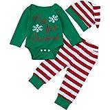 Navidad Bebe Ropa,SMARTLADY Bebé Niña Niño Monos 'my 1st Christmas ' + Pantalones a rayas + Sombrero
