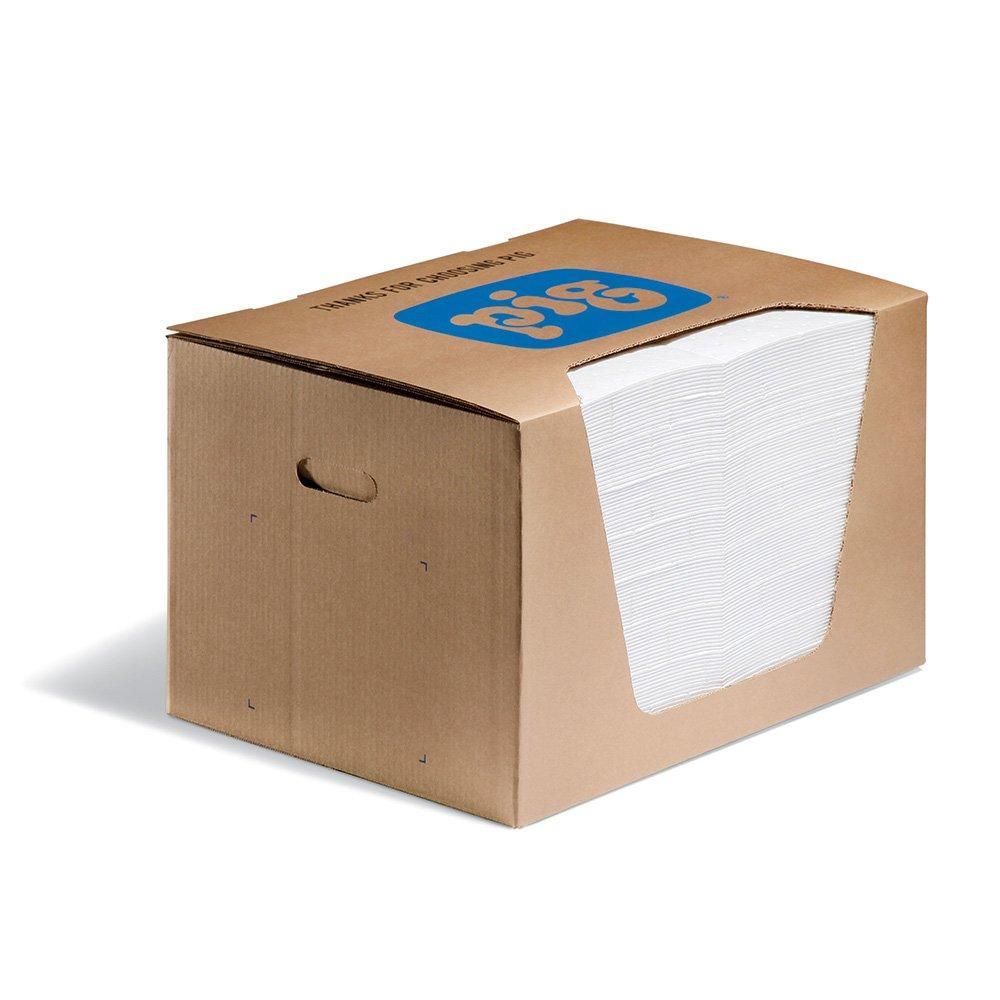 New Pig Oil Mat in Dispenser Box - 15'' x 20'' - Heavyweight Oil Absorbing Pads - 28-Ounce Absorbency - Box of 100 - MAT440