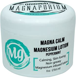 product image for Magnesium Lotion Peppermint 8 oz Magna Calm - Now with all Organic Oils Including Hemp! - Over 275 mg/tsp of Zechstein Seabed Magnesium Minerals (Peppermint))
