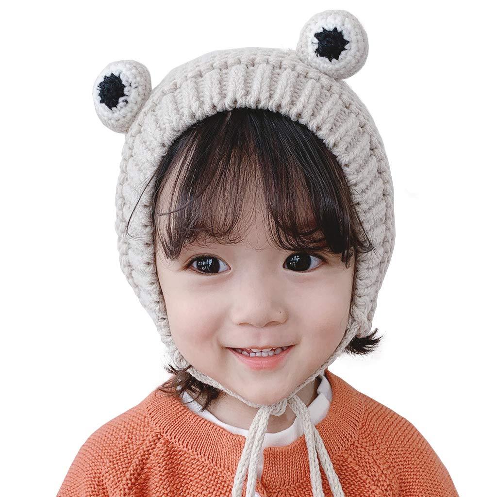 IronBuddy Kids Winter Warm Hat Cute Animal Frog Eyes Handmade Wool Knitted Hat Cap for Baby Toddler Children Boy Girl (Beige) by IronBuddy