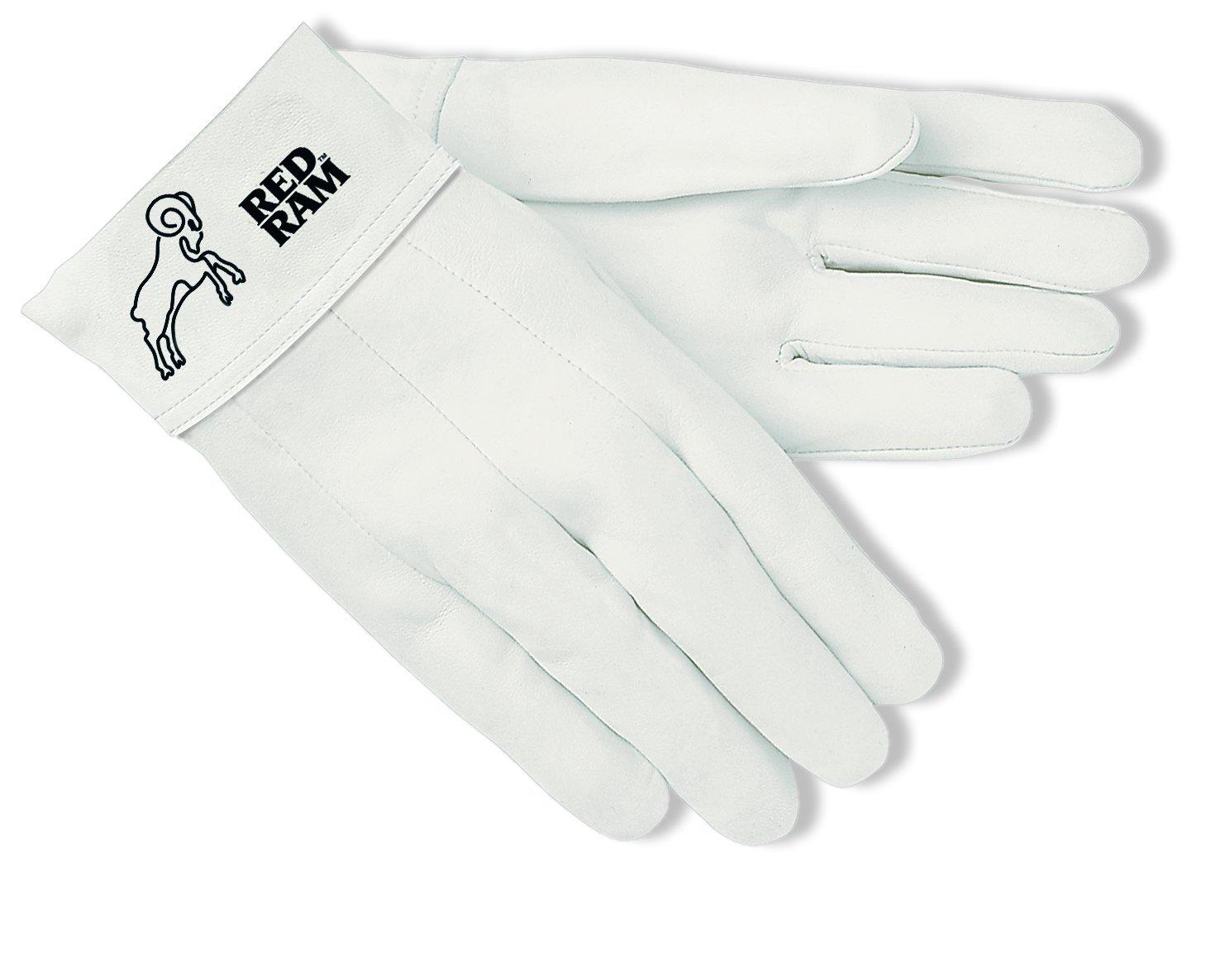 MCR Safety 4910 Red Ram Premium Grade Grain Goatskin MIG/TIG Welder Gloves with 2-Inch Bandtop Cuff, White, Size 10, 1-Pair