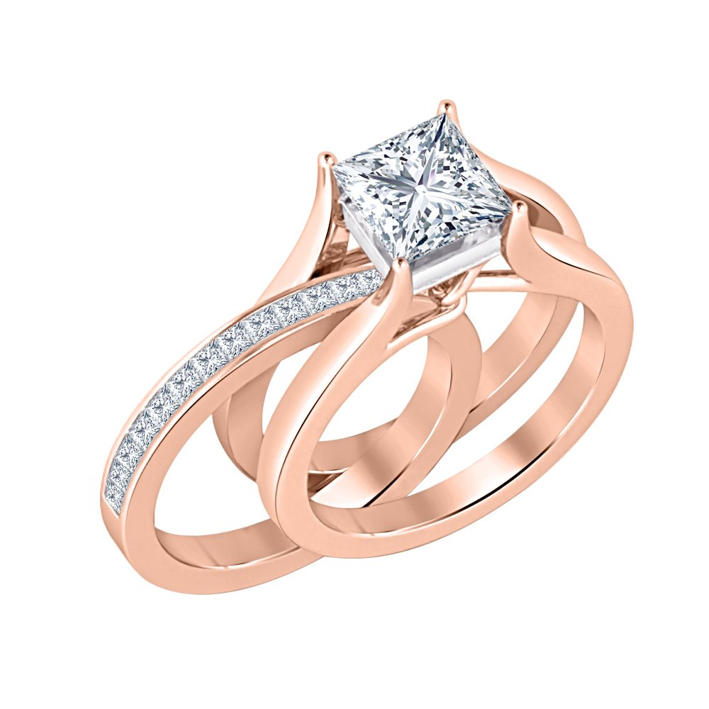 5a780d58193f1 Gold & Diamonds Jewellery Two-Tone 1.85 ct.tw Princess Cut Created ...