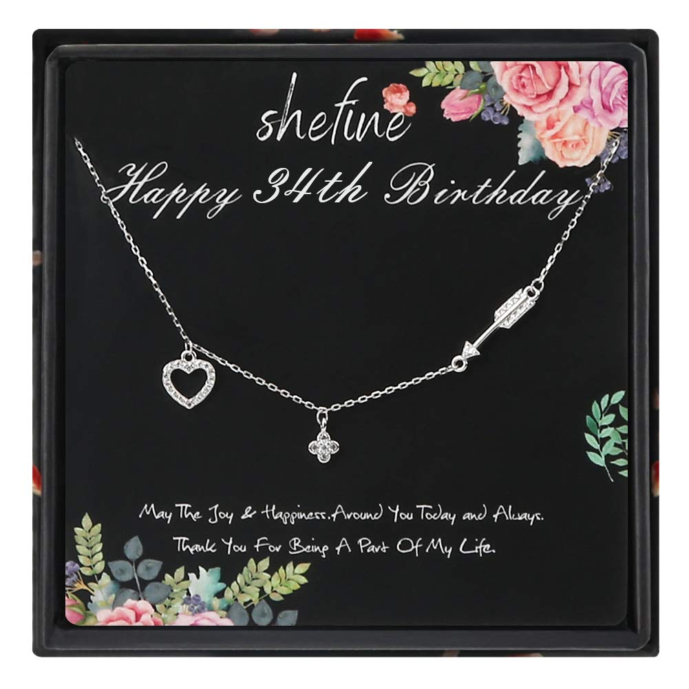 34th Birthday Gifts for Women 34 Year Old Birthday Gifts for Women Funny 34th Birthday Gifts for Women 925 Sterling Silver Womens Cupid Love Heart Four-Leaf Clover Arrow Necklace