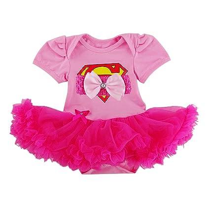 da8ef03de Laudmu Newborn Infant Baby Girl Supergirl Romper Dress,Headband Clothe set  - Pink (S(0-3month))