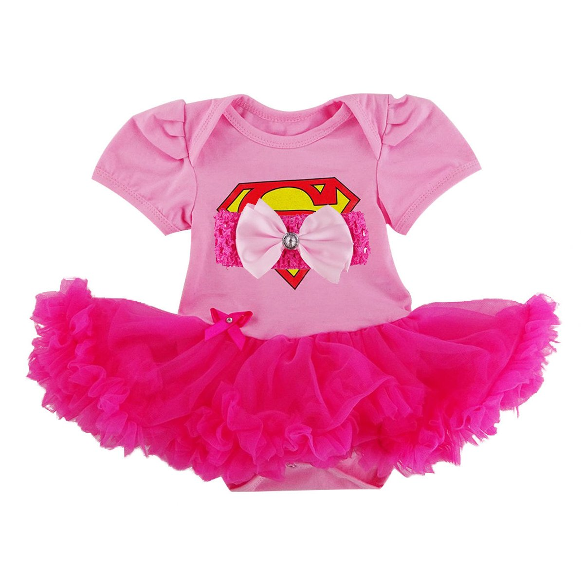 Laudmu Newborn Infant Baby Girl Supergirl Romper Dress,Headband Clothe set - Pink