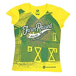 John Deere Farm Raised Girls V-Neck T-Shirt (S(8))