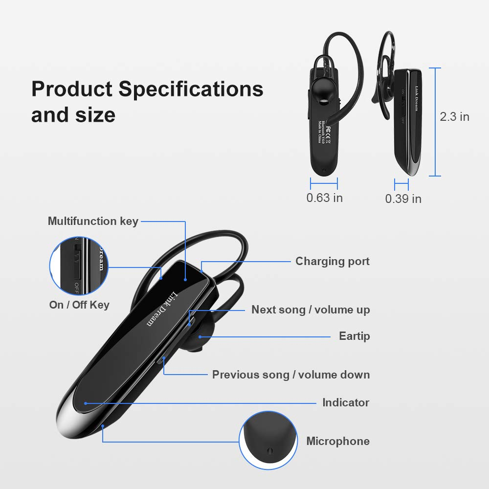 Bluetooth Earpiece Link Dream Wireless Headset with Mic 24Hrs Talktime Hands-Free in-Ear Headphone Compatible with iPhone Samsung Android Smart Phones, Driver Trucker (Black) by Link Dream (Image #7)