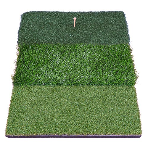 HOMGARDEN Golf Hitting Mat (25'' x 16'') Three Turf Types with Rubber Tee for Driving, Chipping and Putting Golf Practice and Training by HOMGARDEN (Image #2)