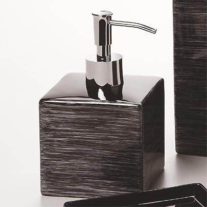Aquasanit – Dispensador jabón negro con rayas plata – Serie CUBE – qb7120ne