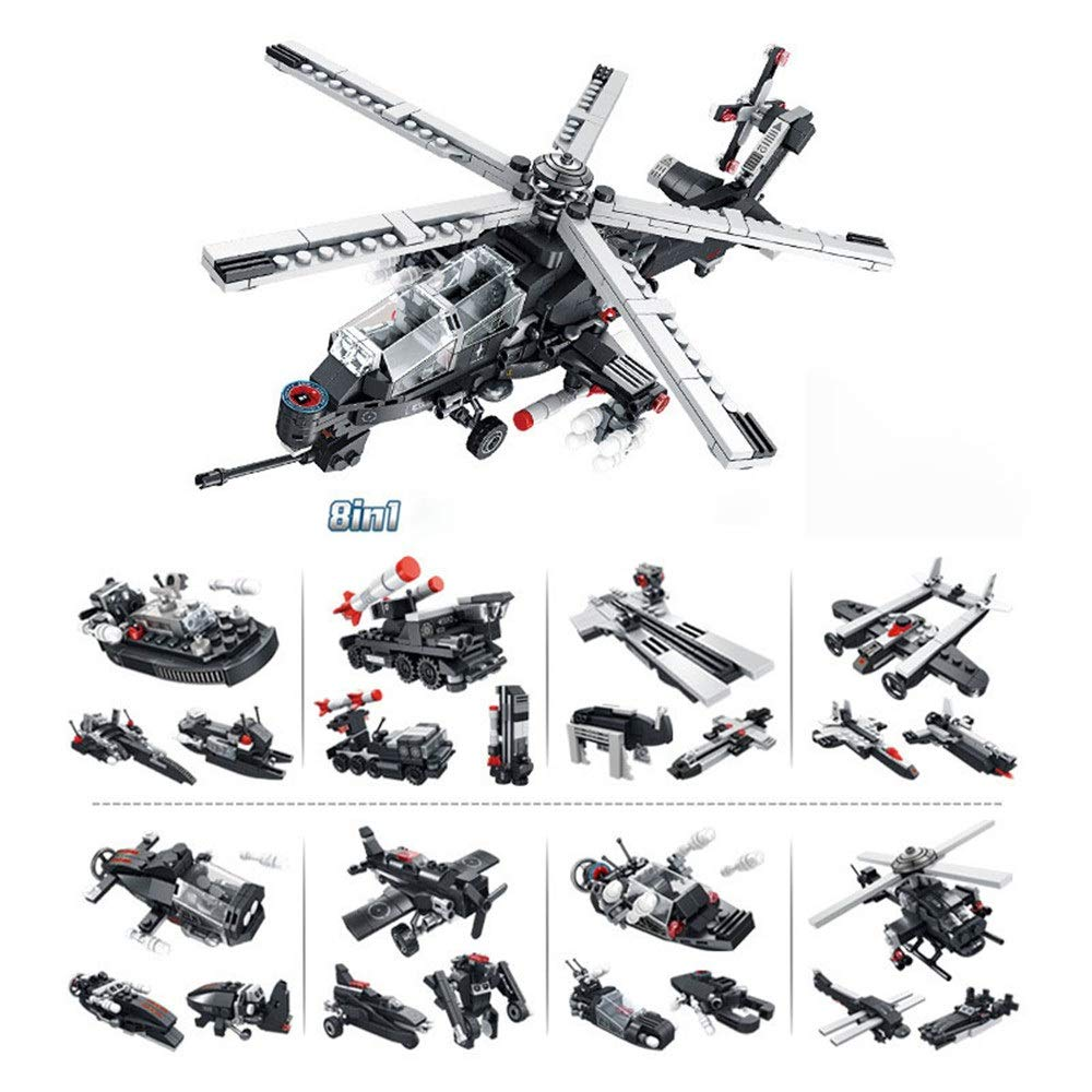 ZnMig Children 3-12 Year Old Armed Helicopter 8 in One Building Blocks Puzzle Building Blocks Children's Toys Early Education Puzzle Building Blocks Toys (Color : Multi-Colored, Size : One Size)