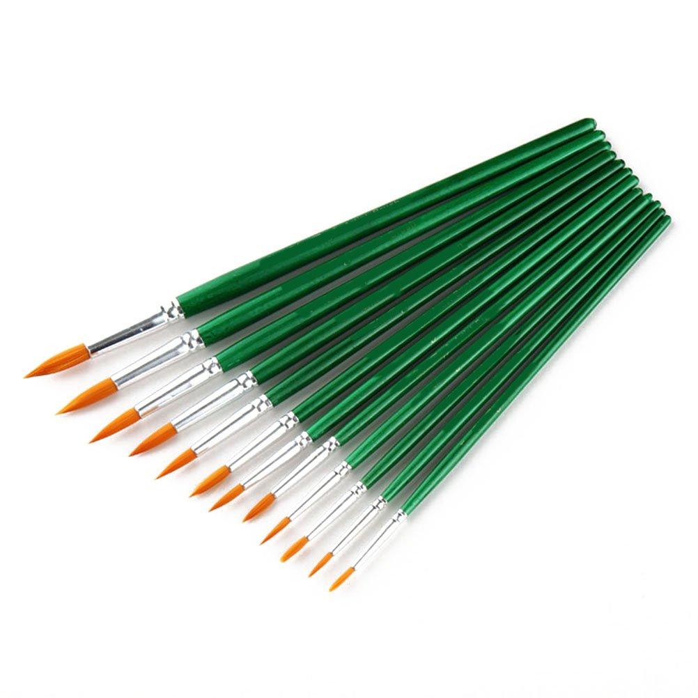 /12/Unidades Juego de pinceles para pintura de acuarela gouache acr/ílico y aceite Pixnor/ verde