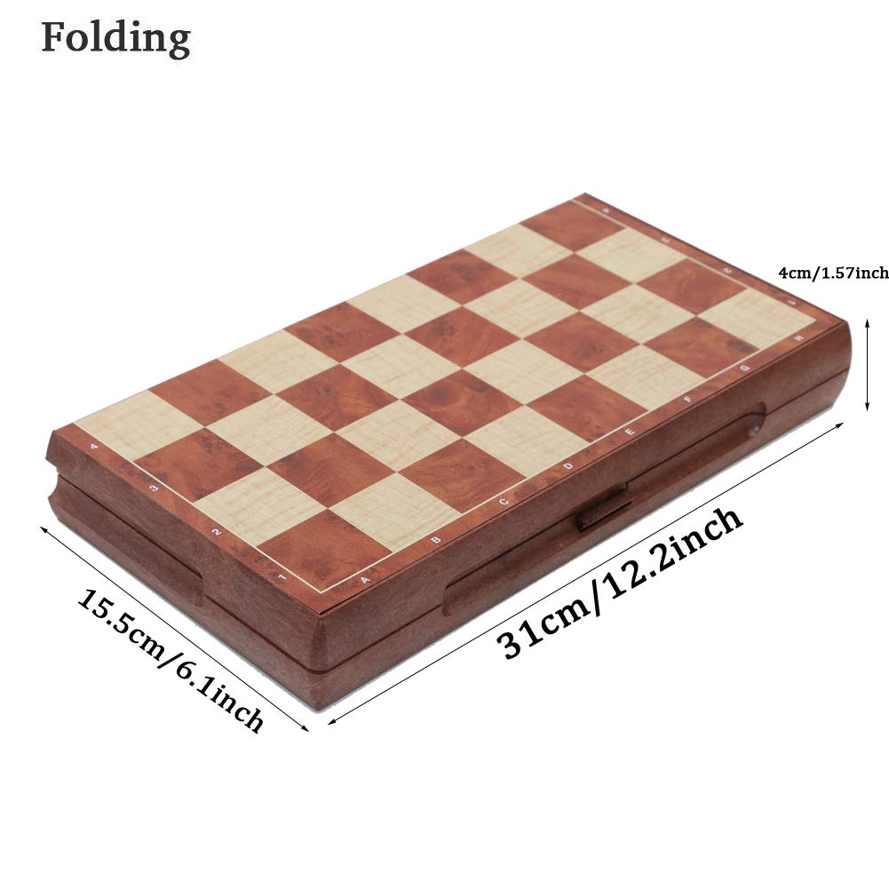 T Tocas Foldable Chess Set 2 in 1 Magnetic Chess /& Checker Pieces Board for 6 Kids Adult 31cm x 31cm