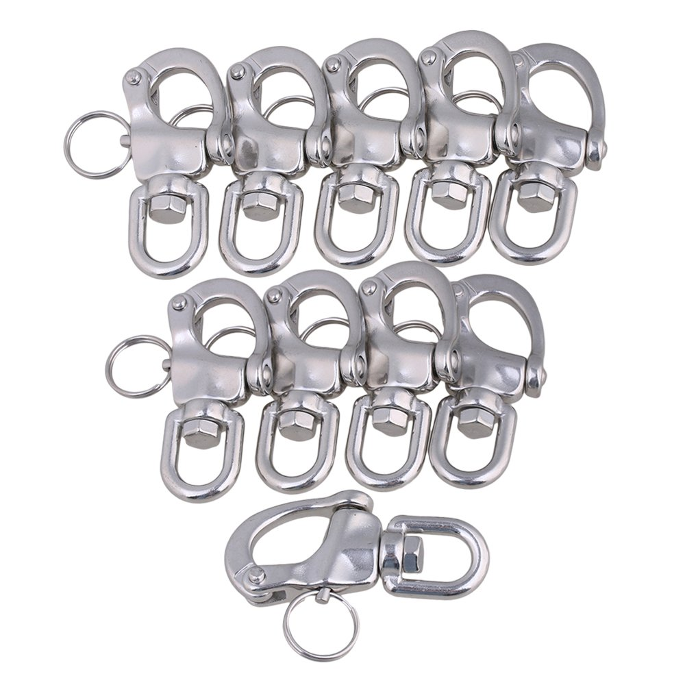 CNBTR 67x39mm Marine 304 Stainless Steel Swivel Jaw Snap Shackle Fixed Bail S-Ring Buckle Set of 10