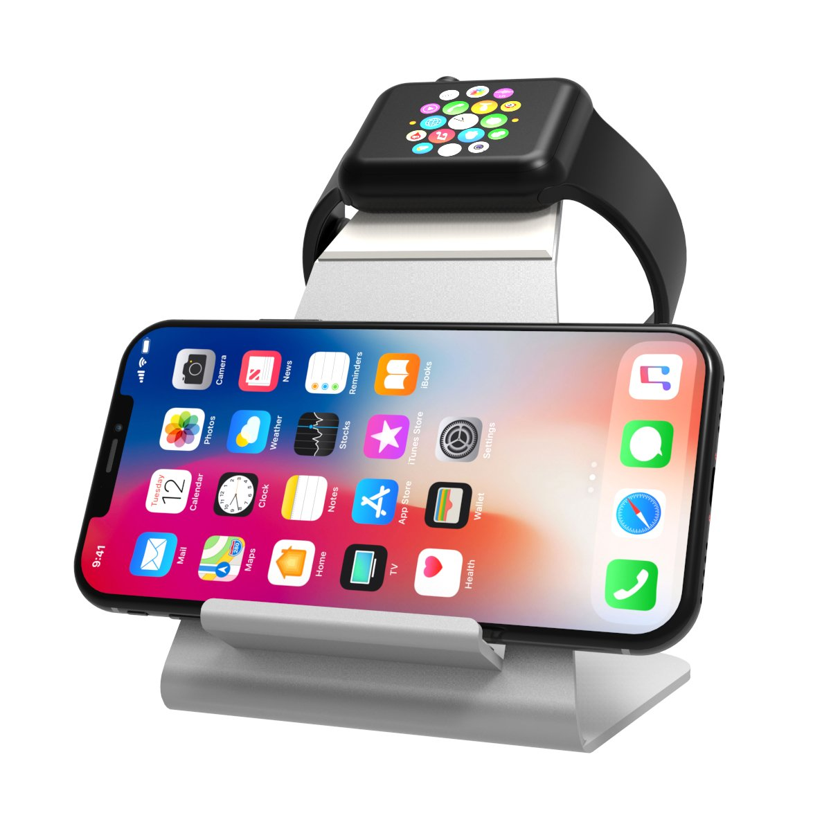 XUNMEJ Watch Stand for Apple Watch Charging Dock Stand Bracket Station Holder for Apple Watch Series 3/Series 2/ Series 1 (42mm 38mm) iPhone X 8 8plus 7 7plus 6S 6plus (Sliver) by XUNMEJ (Image #1)