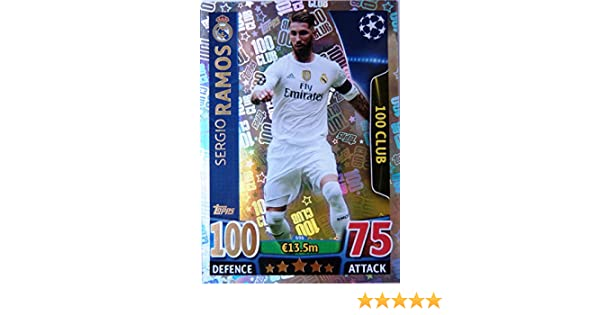 Champions League Match Attax Topps 15//16 Sergio Ramos 100 Hundred Club 2015//2016 Trading Card