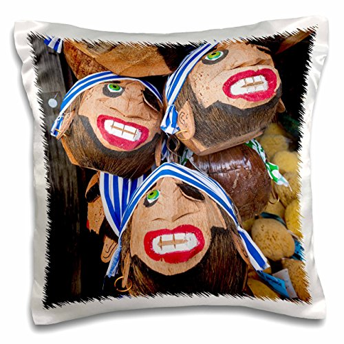 - 3dRose USA, Florida, Keys, Key West, Coconut Pirate Head Souvenirs.-Pillow Case, 16 by 16